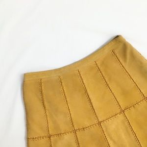 {Free People} Piece Out Mustard Yellow Suede Skirt